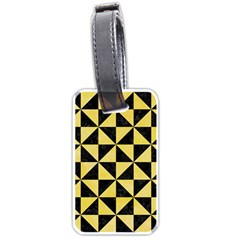 Triangle1 Black Marble & Yellow Watercolor Luggage Tags (one Side)
