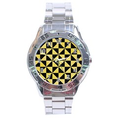 Triangle1 Black Marble & Yellow Watercolor Stainless Steel Analogue Watch