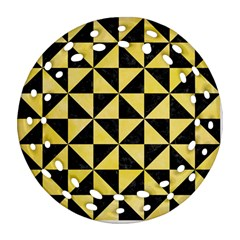 Triangle1 Black Marble & Yellow Watercolor Round Filigree Ornament (two Sides)