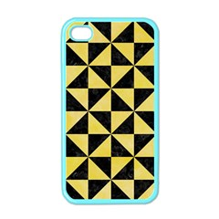 Triangle1 Black Marble & Yellow Watercolor Apple Iphone 4 Case (color)