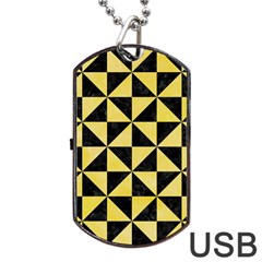 Triangle1 Black Marble & Yellow Watercolor Dog Tag Usb Flash (two Sides)