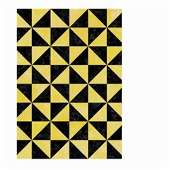 Triangle1 Black Marble & Yellow Watercolor Large Garden Flag (two Sides)