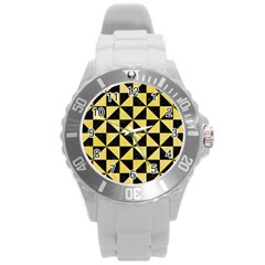 Triangle1 Black Marble & Yellow Watercolor Round Plastic Sport Watch (l)