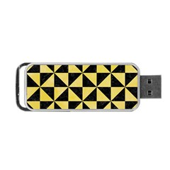 Triangle1 Black Marble & Yellow Watercolor Portable Usb Flash (one Side)