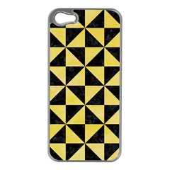 Triangle1 Black Marble & Yellow Watercolor Apple Iphone 5 Case (silver)