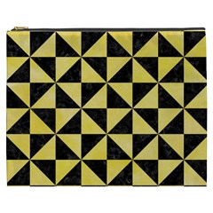 Triangle1 Black Marble & Yellow Watercolor Cosmetic Bag (xxxl)