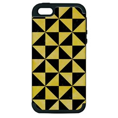 Triangle1 Black Marble & Yellow Watercolor Apple Iphone 5 Hardshell Case (pc+silicone)