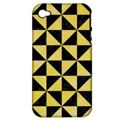 Triangle1 Black Marble & Yellow Watercolor Apple Iphone 4/4s Hardshell Case (pc+silicone)