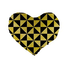Triangle1 Black Marble & Yellow Watercolor Standard 16  Premium Heart Shape Cushions