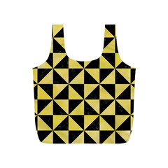 Triangle1 Black Marble & Yellow Watercolor Full Print Recycle Bags (s)