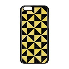 Triangle1 Black Marble & Yellow Watercolor Apple Iphone 6/6s Black Enamel Case