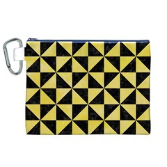 Triangle1 Black Marble & Yellow Watercolor Canvas Cosmetic Bag (xl)