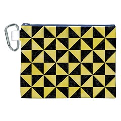 Triangle1 Black Marble & Yellow Watercolor Canvas Cosmetic Bag (xxl)