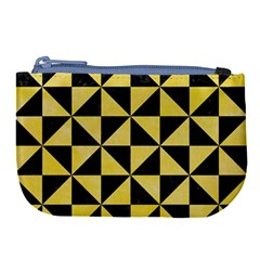 Triangle1 Black Marble & Yellow Watercolor Large Coin Purse