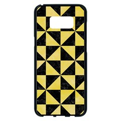 Triangle1 Black Marble & Yellow Watercolor Samsung Galaxy S8 Plus Black Seamless Case