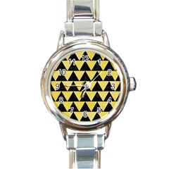 Triangle2 Black Marble & Yellow Watercolor Round Italian Charm Watch