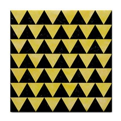 Triangle2 Black Marble & Yellow Watercolor Tile Coasters
