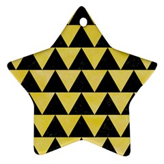 Triangle2 Black Marble & Yellow Watercolor Ornament (star)