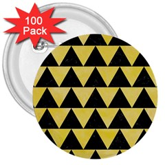 Triangle2 Black Marble & Yellow Watercolor 3  Buttons (100 Pack)