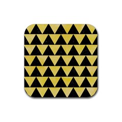 Triangle2 Black Marble & Yellow Watercolor Rubber Square Coaster (4 Pack)