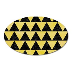 Triangle2 Black Marble & Yellow Watercolor Oval Magnet