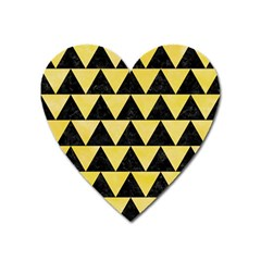 Triangle2 Black Marble & Yellow Watercolor Heart Magnet