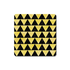 Triangle2 Black Marble & Yellow Watercolor Square Magnet