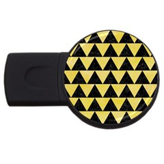 Triangle2 Black Marble & Yellow Watercolor Usb Flash Drive Round (2 Gb)