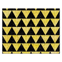 Triangle2 Black Marble & Yellow Watercolor Rectangular Jigsaw Puzzl