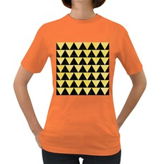 Triangle2 Black Marble & Yellow Watercolor Women s Dark T Shirt