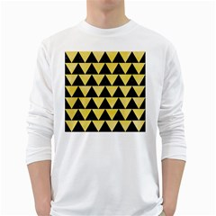 Triangle2 Black Marble & Yellow Watercolor White Long Sleeve T Shirts