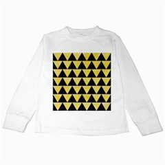 Triangle2 Black Marble & Yellow Watercolor Kids Long Sleeve T Shirts