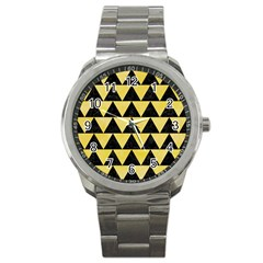 Triangle2 Black Marble & Yellow Watercolor Sport Metal Watch