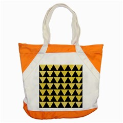 Triangle2 Black Marble & Yellow Watercolor Accent Tote Bag