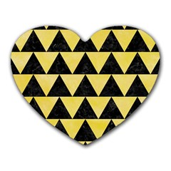 Triangle2 Black Marble & Yellow Watercolor Heart Mousepads