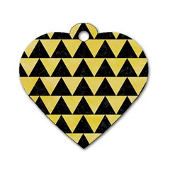 Triangle2 Black Marble & Yellow Watercolor Dog Tag Heart (one Side)