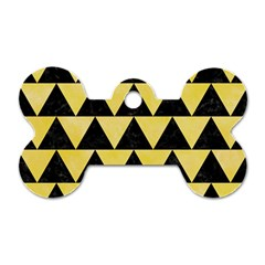 Triangle2 Black Marble & Yellow Watercolor Dog Tag Bone (two Sides)
