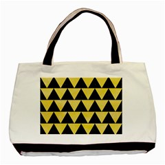 Triangle2 Black Marble & Yellow Watercolor Basic Tote Bag (two Sides)