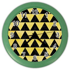 Triangle2 Black Marble & Yellow Watercolor Color Wall Clocks
