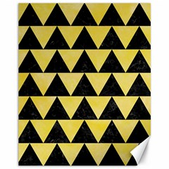 Triangle2 Black Marble & Yellow Watercolor Canvas 11  X 14