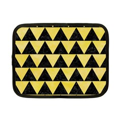 Triangle2 Black Marble & Yellow Watercolor Netbook Case (small)