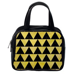 Triangle2 Black Marble & Yellow Watercolor Classic Handbags (one Side)