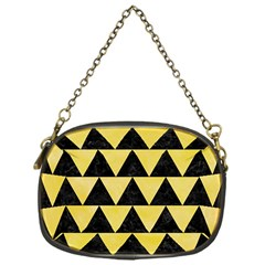 Triangle2 Black Marble & Yellow Watercolor Chain Purses (one Side)