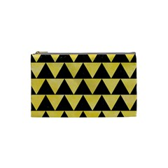 Triangle2 Black Marble & Yellow Watercolor Cosmetic Bag (small)