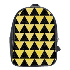 Triangle2 Black Marble & Yellow Watercolor School Bag (large)