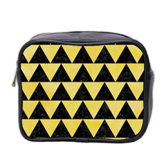 Triangle2 Black Marble & Yellow Watercolor Mini Toiletries Bag 2 Side