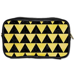 Triangle2 Black Marble & Yellow Watercolor Toiletries Bags