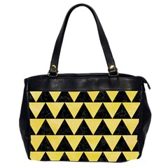Triangle2 Black Marble & Yellow Watercolor Office Handbags (2 Sides)