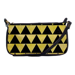 Triangle2 Black Marble & Yellow Watercolor Shoulder Clutch Bags