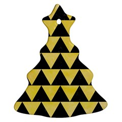 Triangle2 Black Marble & Yellow Watercolor Ornament (christmas Tree)